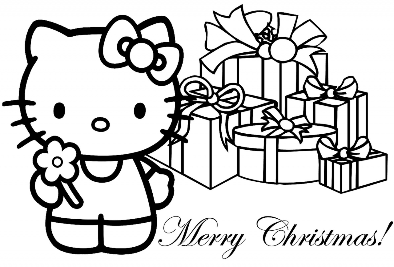 Hello Kitty Merry Christmas Coloring Pages Download Hello Merry Coloring Pages